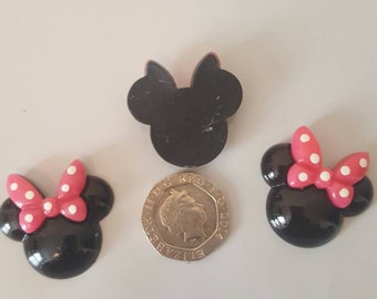 3 x Black Minnie head with pink bow flat back resin, cabochon DIY Hair Bow Scrap Booking