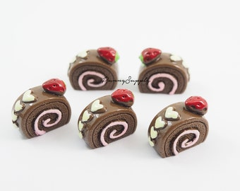 Free Shipping 8 Pcs - Swiss Roll Chocolate Cake Resin 3D Cabochon Cab Flat back for Craft Making - MAS.37