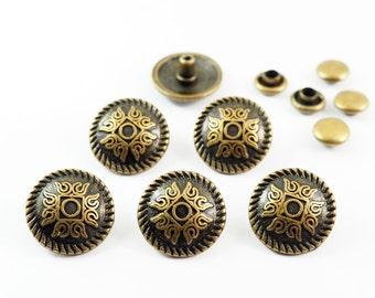 10 sets - 12 mm Antique Brass Retro Cross Fancy Rivet Studs  For Leather Craft, Decorations Findings - VOV.9