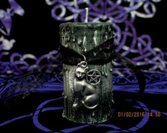 Black Cat Candle ~ Black Cat Ritual Candle ~ Wicca Spell Candle ~ Witch Drippy Candle ~ Black Cat Spell Candle ~ Witchcraft Candle