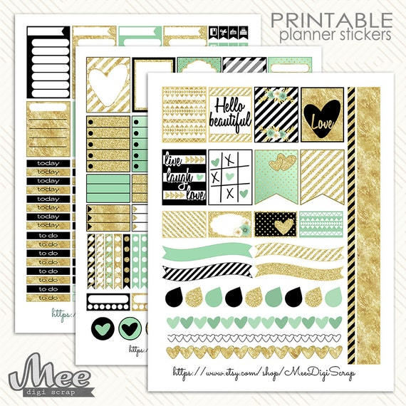 black white gold and mint planner by meedigiscrap on etsy