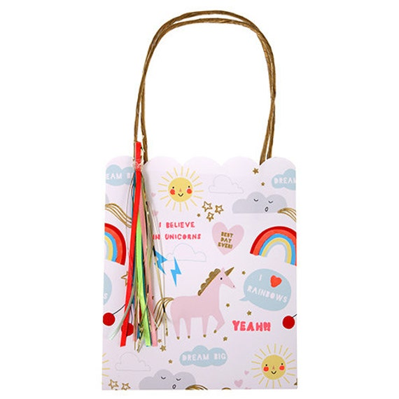Unicorn And Rainbow Party Bags With Handles Set Of 8 Meri
