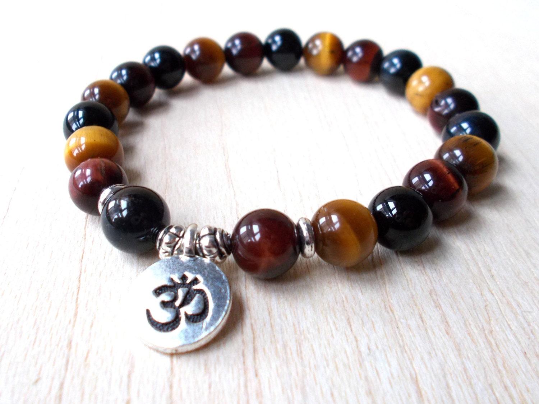 tigers eye bracelet mens mala bracelet om bracelet by