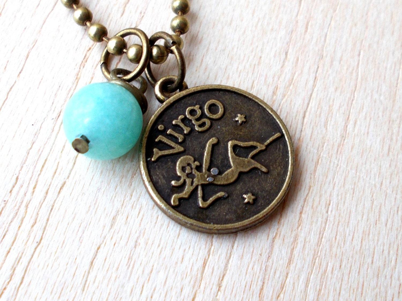 virgo necklace virgo jewelry amazonite pendant virgo zodiac