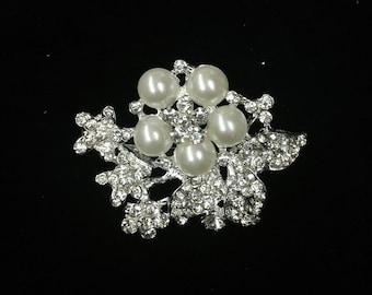 Rhinestone Pearl Brooch / Pearl Bridal Brooch / Crystal Brooch Component / Pearl Brooch