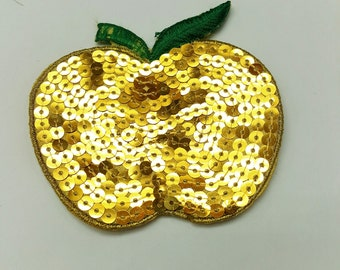 6pcs Gold Apple Padded Appliqués, Scrapbooking Supplies, Sequin Appliqués