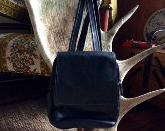 Vintage Black Leather Tignanello Backpack // 90s Grunge Black Leather Backpack with Adjustable Straps // Hipster Boho Festival Style