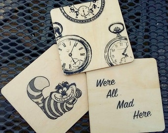 Alice in wonderland wooden coasters x3