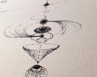 Original Ink Space Age Illistration - Dotwork - Space Wall Art - Black and White Abstract Art - Modern Minimalist - Fine Tip Pen