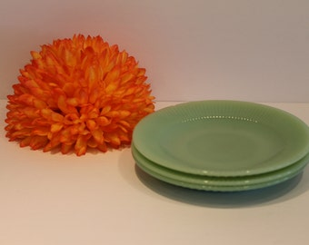 Set of 3 - Jane Ray Saucers - Jadeite - Jadite - Jade-ite - Fire King - Anchor Hocking - Plates
