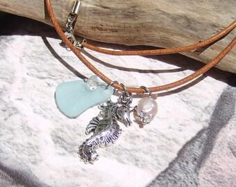 Seahorse Sea Glass Necklace, Sea Glass Jewelry, Beach Glass Necklace, Seaglass Beachglass Nautical necklace, Leather Jewelry, Beach Necklace