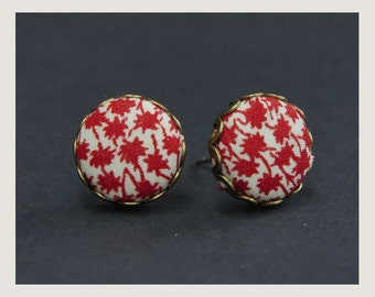 no.79 Stud Liberty Fabric button earrings - Red Palm