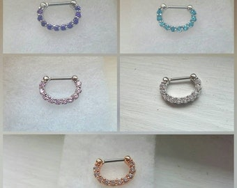 Rose gold, pink, blue, purple, OR silver  septum clicker