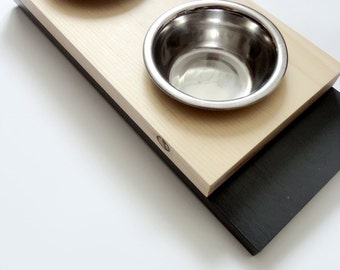 Modern feeder small - Cat or small dogs bowls- Minimal design - Wood and charcoal