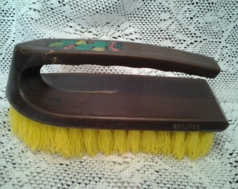 Vintage Retro Cleaning Brush Brown with Yellow brisles