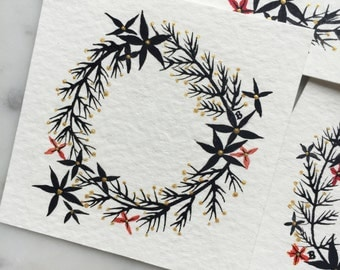 Hand-painted floral wreath gift tags