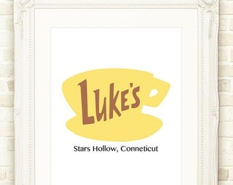 Gilmore Girls Print, Luke's Diner Stars Hollow Town Signs Printable Wall Art, INSTANT DOWNLOAD 3 Sizes, Lorelai, Rory, Gilmore Girls Poster