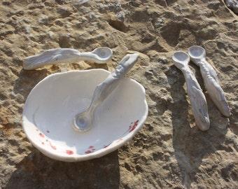 Ceramic spoon in stoneware Spoon spices spoon sandstone, unique piece, ceramic dishes