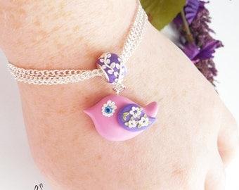 Twitter Bird Charm Bracelet, Polymer Clay Bird, Pandora Charm, Spring Bird, Bird Necklace, Bird Jewelry, Pink Jewelry, Bangle Bracelet