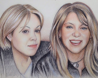 8x12 Custom Portraits, Custom pencil portrait, Family Portrait, drawing, custom drawing, colored pencil