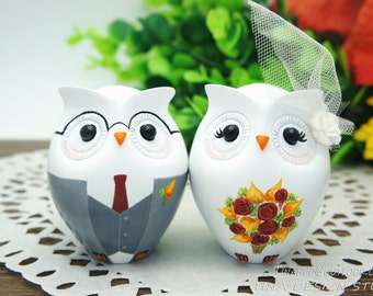 Nerdy Wedding Cake Toppers-Owl Wedding Cake Toppers-Fall Themed Bride And Groom Wedding Cake Toppers