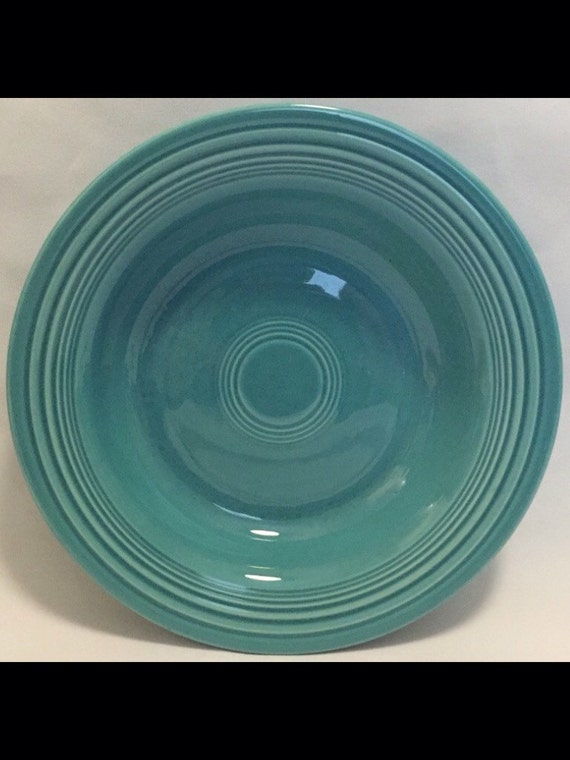 "FREE SHIPPING-One-Vintage-Turquoise-Fiesta Ware-Homer Laughlin-Made USA-8 1/4""-Rimmed-Soup Bowl."