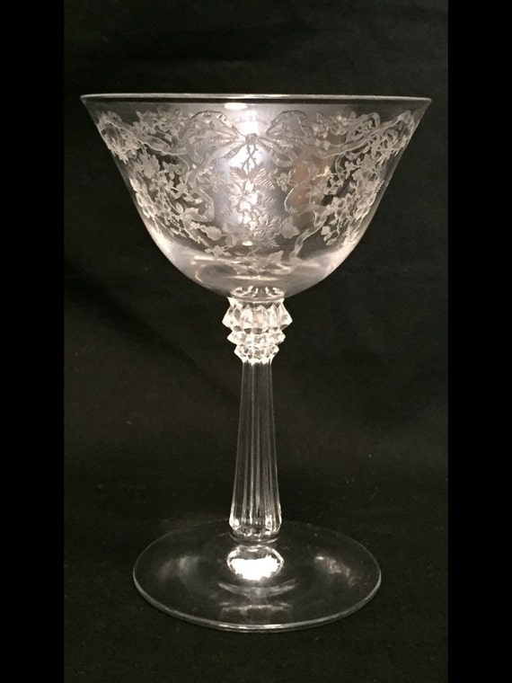 """Free Shipping-Elegant-Depression-Glass-By Fostoria-Pattern Romance-Etched-5 1/2"""" Tall-Sherbet/Champagne-Glass"""