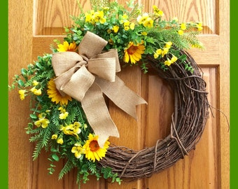 Summer Grapevine Wreath
