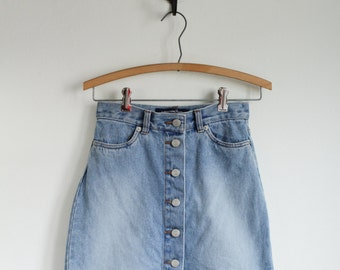 90's Vintage Denim Mini Skirt XS