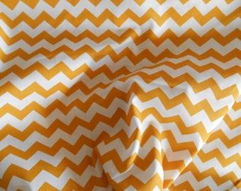 Mustard gold  chevron  cotton fabric by the yard