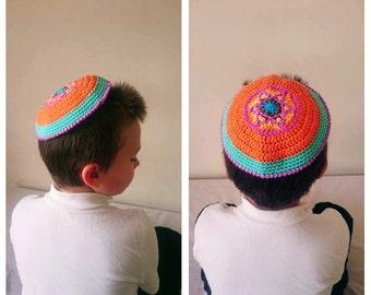 STAR OF DAVID Crochet kippot kippah yarmulke scullcap cupple Orange Jewish Judaism