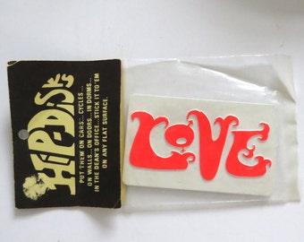 New Vintage 60s Mod Hip-Disks LOVE Plaque Stick-on