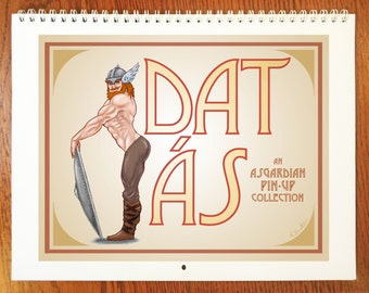 """Dat Ás Pin-Up Calendar - 8.5""""x11"""" - 12 Month Wall Calendar - Guide to the gods of Norse Mythology - The Calendar You Didn't Know You Needed"""