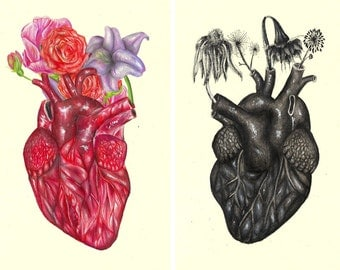 "Heart like yours illustration // Postcard sized - A6, 4.1"" x 5.8"""