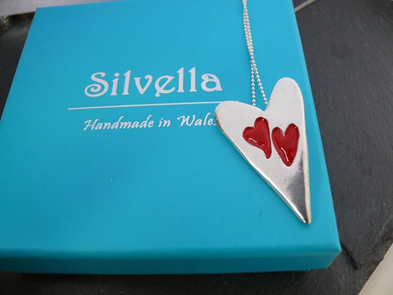 Modern Heart with Two Small Enamelled Hearts - Handmade Silver Heart Necklace - Handmade in Wales