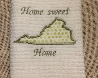 Home Sweet Home Virginia Towel,kitchen towel, Virginia, teacher gift, house warming gift