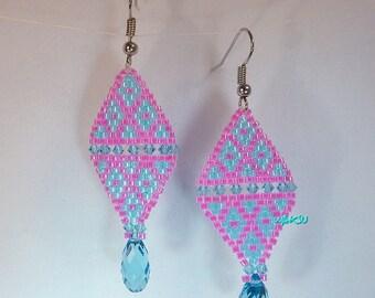 Sead beads and Swarovski beads earrings