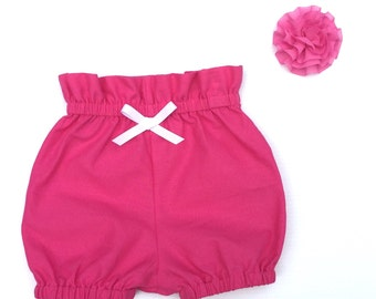 Baby Girl Clothes, Bloomers Hot Pink High waisted Baby Bloomer Shorties, nappy cover, diaper cover