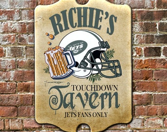 """Custom PERSONALIZED NY Jets Sports Football Fan Tavern Pub Bar Sign - Traditional Antique Look for Game Room, Man Cave Wall Decor 11 x 16"""""""