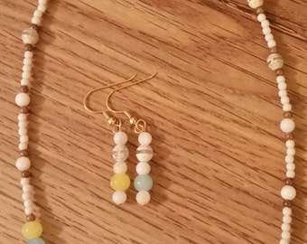 Necklace Earring Set White Yellow Blue Bead