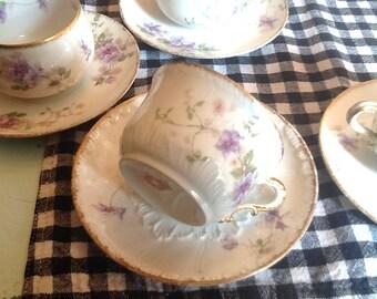 PAIR of vintage (c.1930s) GDA169 | GDA 169 Gerard, Dufraisseix, Abbott CH Field Haviland Limoges tea sets (cups w/matching saucers).