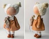 Rag doll Handmade doll AT STOCK Tilda doll Interior doll brown coral polka colors soft doll Cloth doll Fabric doll by Master Diana Etkind