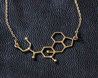 LSD Molecule - Bronze Metal with Chain - Psychedelic - Trance Festivals - Drugs - Boho - Gypsy - Hippie