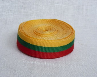 Lithuanian flag ribbon yellow green red flag patriotic ribbon 3 meters / 3.28 yards