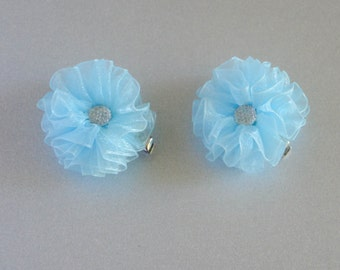 Light Blue Baby girl Hair Clips, sheer flower hair clips, flower hair clips, baby hair clips, light blue, hair clips