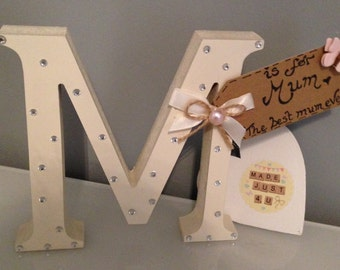 Bespoke decorated freestanding wooden letters. Hand-Painted and decorated. Ideal present.freestanding letter M