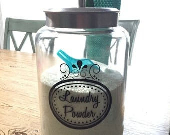 Laundry Decal, Laundry Sticker, Laundry Powder Sticker, Jar Decal, Laundry Soap