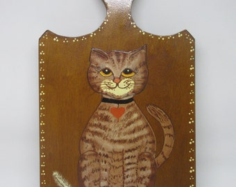 Wall Hanging Cat Caught the Canary Unique One of a Kind Handmade Hand Painted Gift Cat Collector Home Decor Country Decor FOLK ART Decor