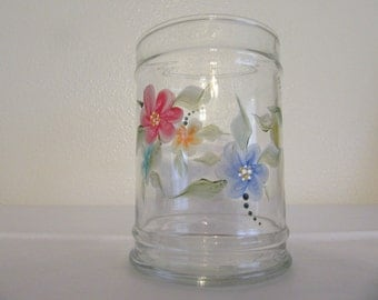 Hand Painted Clear Round Glass Vase - Multi-Colored Floral Accents