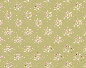 Tilda Spring Lake - Jean Olive Cotton fabric by Tone Finnanger ref 480846